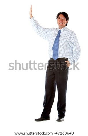 business man making a stop sign isolated over a white background - stock photo