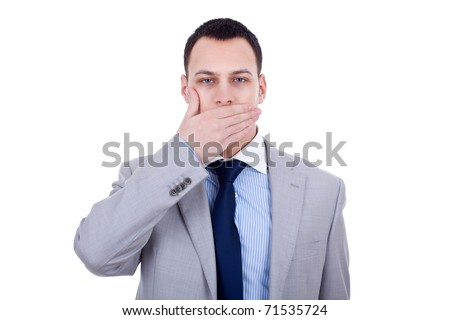 business man making the speak no evil gesture over white - stock photo
