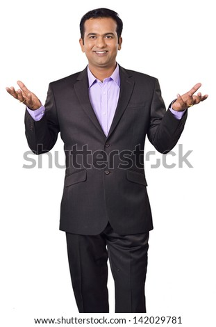 business man man present something isolated on white background. - stock photo