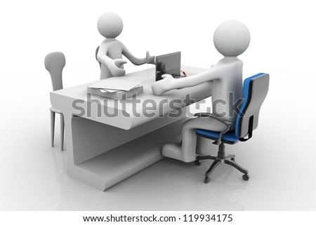 business man meeting his  client in office - stock photo