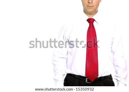 business man mix with white background - stock photo