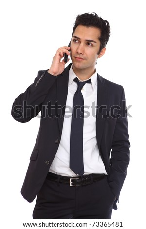 Business man negotiating on phone isolated on white - stock photo