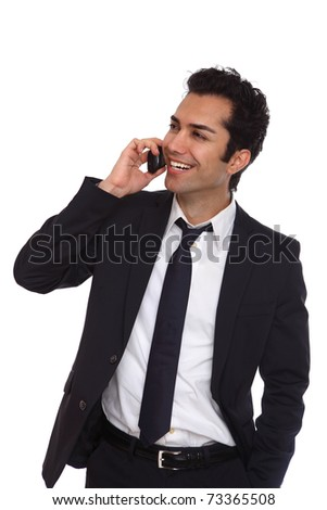 Business man negotiating on phone, isolated on white - stock photo
