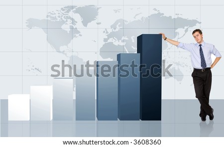 business man next to a graph chart showing his growth and success - stock photo