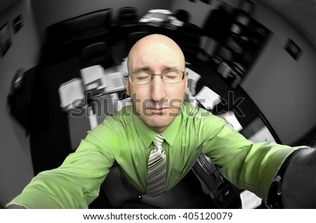 Business man office worker at peace eyes closed