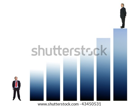 business man on a graphic, representing success and growth