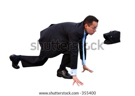 business man on a start-up position for a race over a white background - stock photo