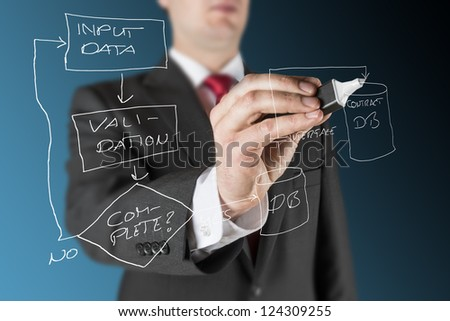 business man on blue background is drawing white flow chart regarding computer system process