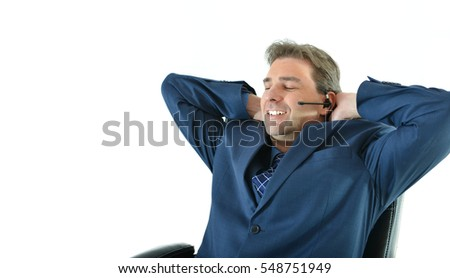 Business man on phone or customer service representative helping customers in a relaxed pose
