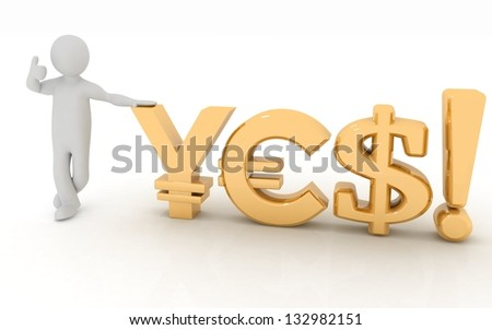 "Business man on presentation with currency symbols talking ""YES"". 3d on a white background. - stock photo"