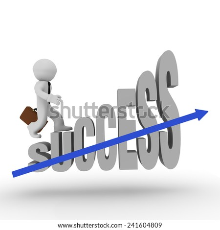Business man on success stairs with a blue upswing arrow
