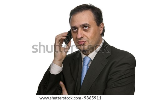 business man on the phone in white background