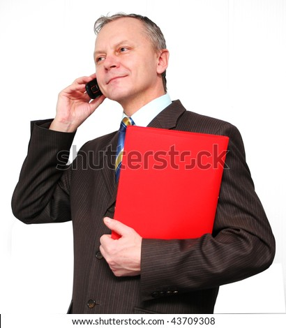 Business man on the phone on a white background. - stock photo