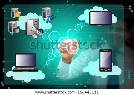 Business man operating cloud computing network connecting various systems over cloud through mobile, laptop, tab, touch screen - stock photo