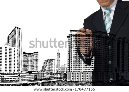 Business man or architect draw building and cityscape on white background - stock photo