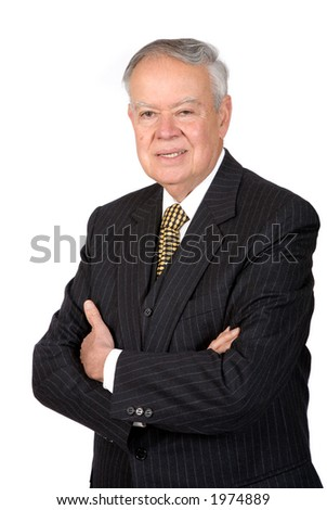 business man over white with arms crossed - friendly face
