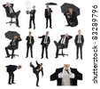 Business man pack on white background - stock photo