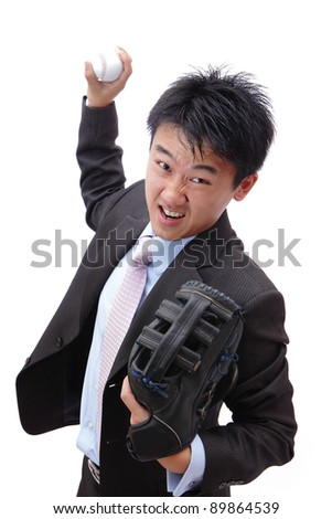 Business man pitching baseball with all his strength - stock photo