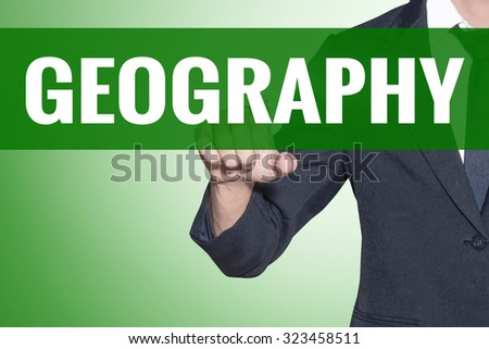 Business man point to Geography word on green tab virtual screen - stock photo