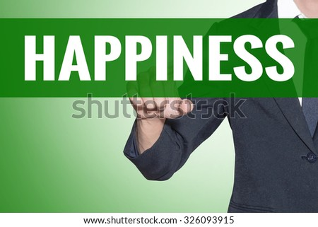 Business man point to Happiness word on green tab virtual screen - stock photo