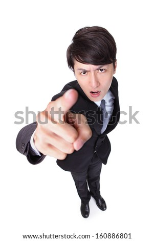 Business man point to you isolated on white background,  high angle view, model is a asian male - stock photo