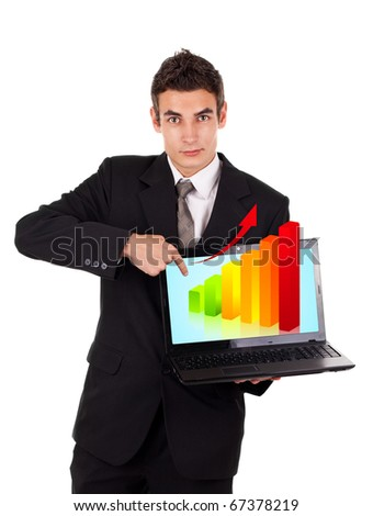 Business man pointing at a laptop with graph isolated on white