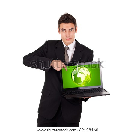 Business man pointing at eco world, isolated on white - stock photo