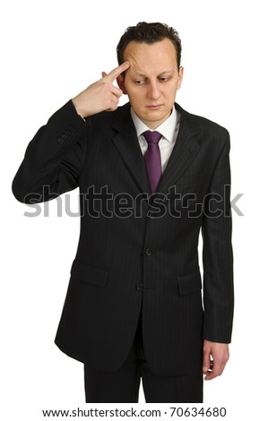 Business man pointing at himself with forefinger. Studio shot isolated on white background - stock photo