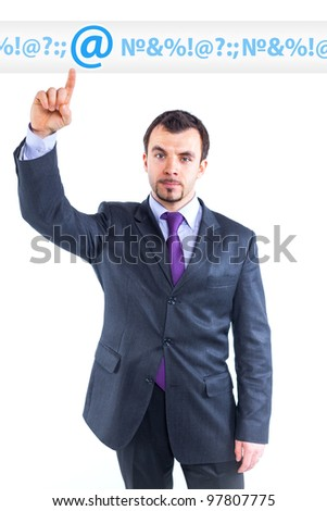 business man pointing at idea change to internet graph. - stock photo
