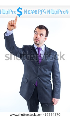 business man pointing at idea change to money graph - stock photo