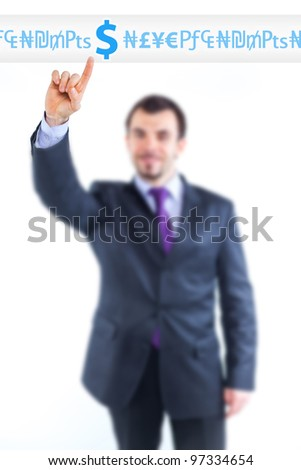 business man pointing at idea change to money graph. Focus on the hand - stock photo