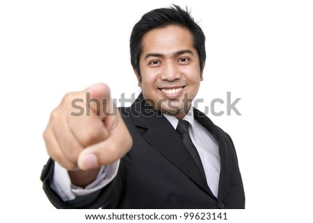 business man pointing at you against white background - stock photo