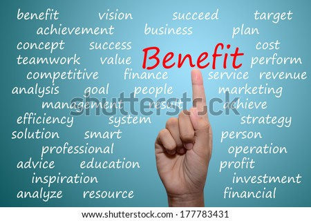 business man pointing benefit concept