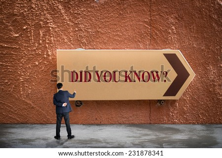 Business man pointing DID YOU KNOW? concept  - stock photo