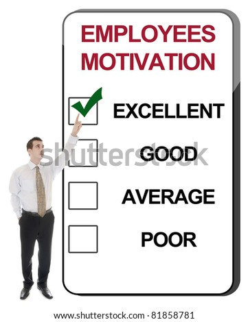 Business man pointing Employees Motivation - stock photo