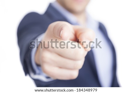 Business man pointing finger at you, isolated on white - stock photo