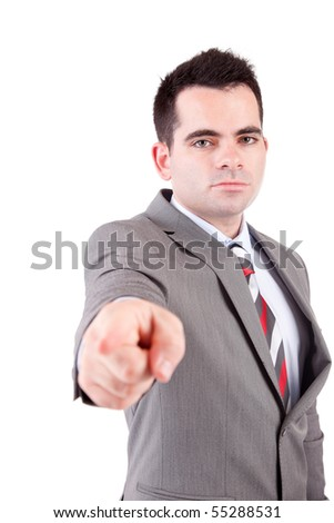 Business man, pointing forward - isolated