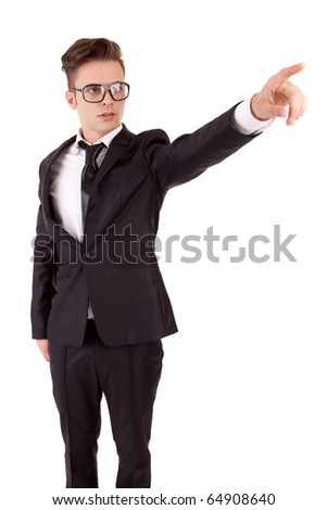 Business man, pointing forward - isolated - stock photo