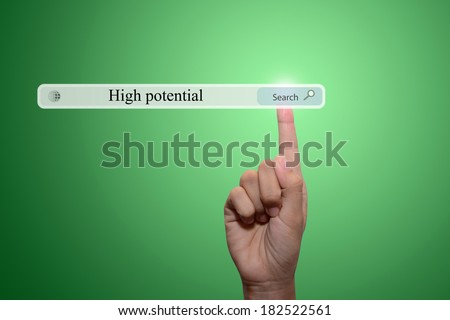 business man pointing high potential concept  - stock photo