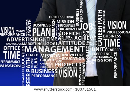 Business man pointing management concept chart - stock photo