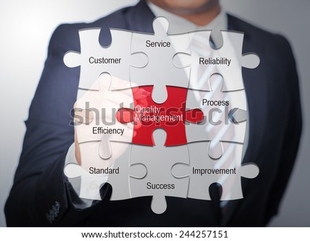 Business Man pointing on jigsaw written quality management - stock photo