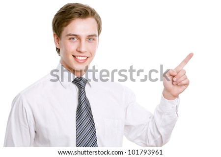 Business man pointing showing copy space isolated on white background. - stock photo