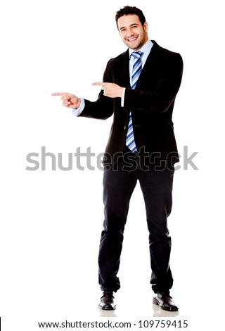 Business man pointing something - isolated over a white background - stock photo