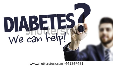 Business Man Pointing the Text: Diabetes? We Can Help! - stock photo