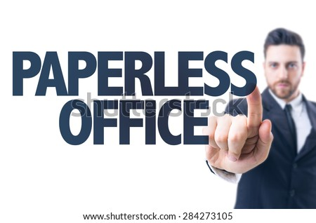 Business man pointing the text: Paperless Office - stock photo
