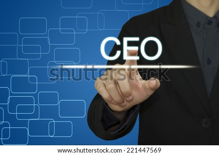 Business man pointing to CEO on computer screen. - stock photo