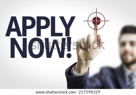 Business man pointing to transparent board with text: Apply Now! - stock photo