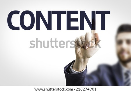 Business man pointing to transparent board with text: Content - stock photo