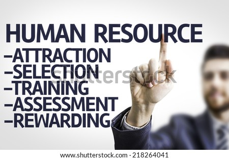 Business man pointing to transparent board with text: Description of Human Resource - stock photo