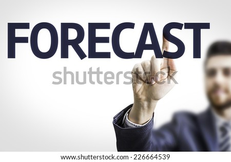 Business man pointing to transparent board with text: Forecast - stock photo